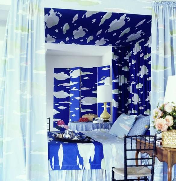 Blue Flower Photograph - Bedroom With Bill Blass Fabrics by Horst P. Horst