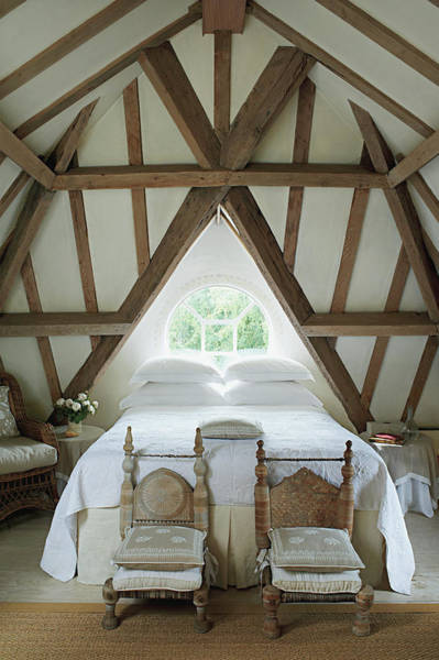 No People Photograph - Bedroom With Wooden Ceiling by Tim Beddow