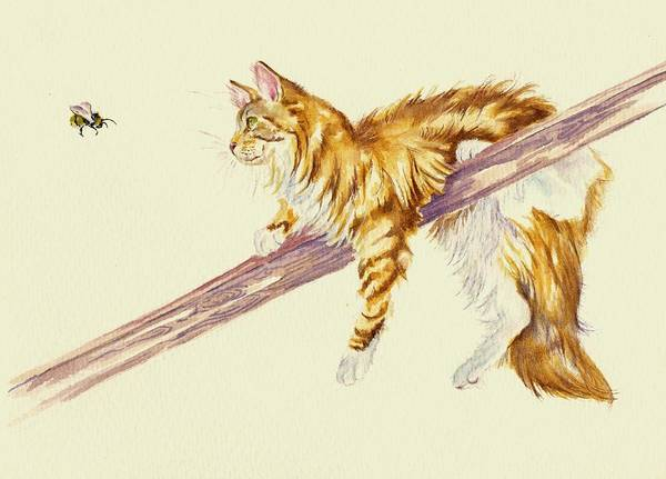 Calico Cat Painting - Bee Determined by Debra Hall