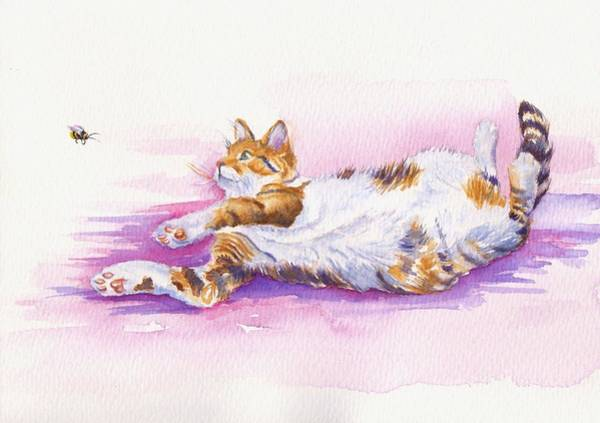 Calico Kitten Wall Art - Painting - Bee Laid Back by Debra Hall