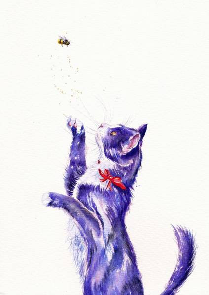 Tuxedo Cat Painting - Bee Pollinated by Debra Hall