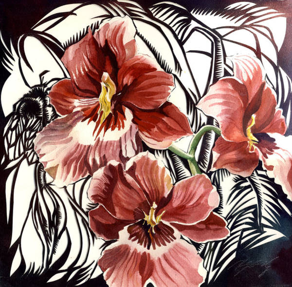 Painting - Bee With Red Orchid by Alfred Ng