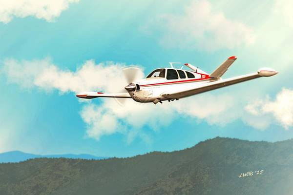 Wall Art - Digital Art - Beechcraft Bonanza V Tail Red by John Wills