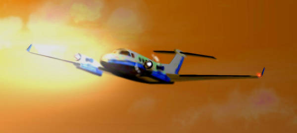 Prop Digital Art - Beechcraft - King Air 350 by Marcello Cicchini
