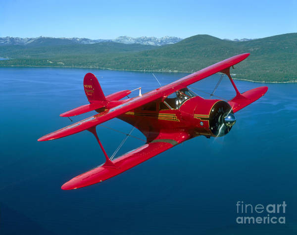 Airborne Photograph - Beechcraft Model 17 Staggerwing Flying by Phil Wallick