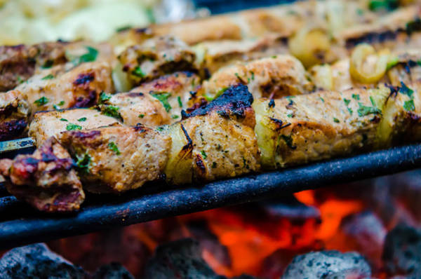Photograph - Beef Kababs On The Grill Closeup by Alex Grichenko