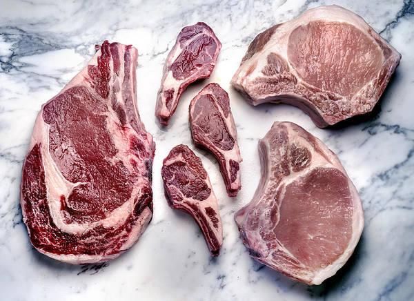 Beef Lamb Pork Raw Art Print by ATU Images