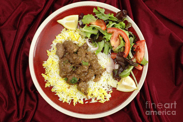 Photograph - Beef Rogan Josh Meal From Above by Paul Cowan