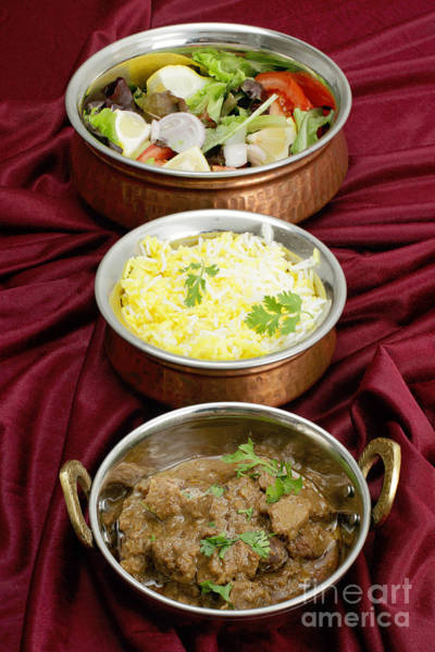 Photograph - Beef Rogan Josh With Rice And Salad by Paul Cowan