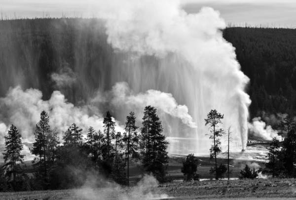 Photograph - Beehive Geyser Shower In Black And White by Bruce Gourley