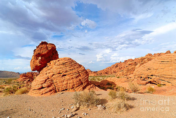 Geologic Formation Photograph - Beehive Rock Formation Under A Stormy Sky In Nevada Valley Of Fire State Park by Jamie Pham