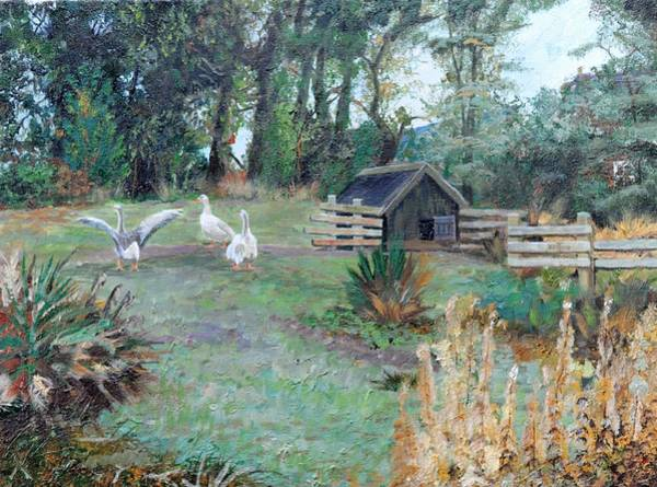 Farmyard Photograph - Beeley, Derbyshire, 2009 Oil On Canvas by Trevor Neal