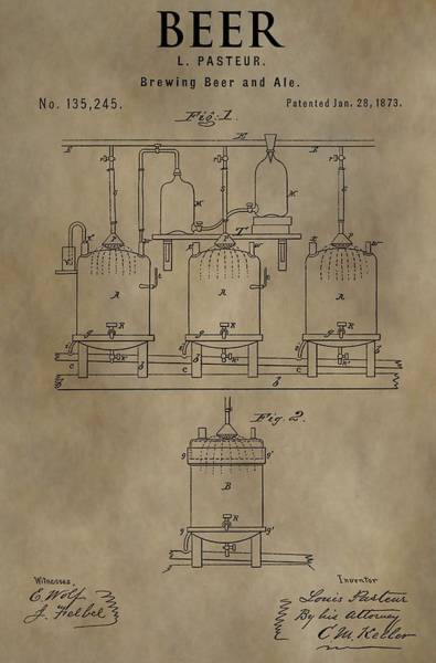 Wall Art - Mixed Media - Beer Brewery Patent by Dan Sproul