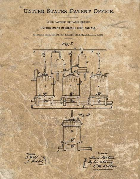 Wall Art - Mixed Media - Beer Brewery Patent Illustration by Dan Sproul