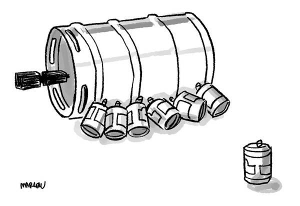 Beer Drawing - Beer Cans Nursing At A Keg by Sam Marlow