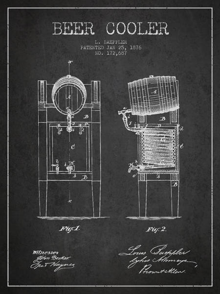 Intellectual Property Wall Art - Digital Art - Beer Cooler Patent Drawing From 1876 - Dark by Aged Pixel