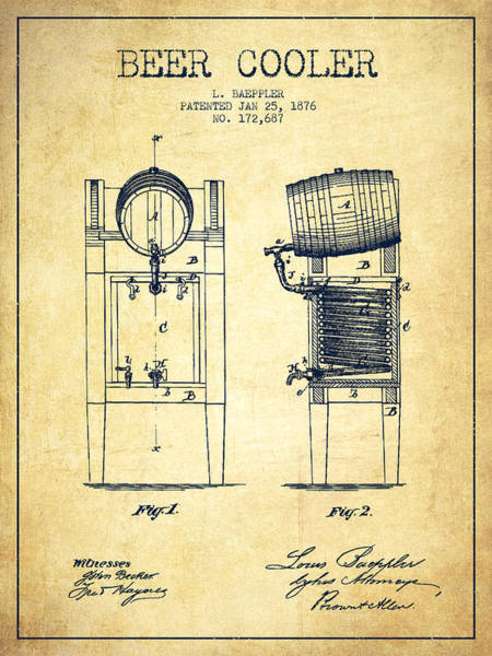 Wall Art - Digital Art - Beer Cooler Patent Drawing From 1876 - Vintage by Aged Pixel