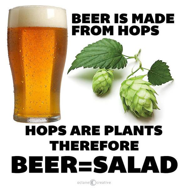 Digital Art - Beer Equals Salad by Tim Nyberg