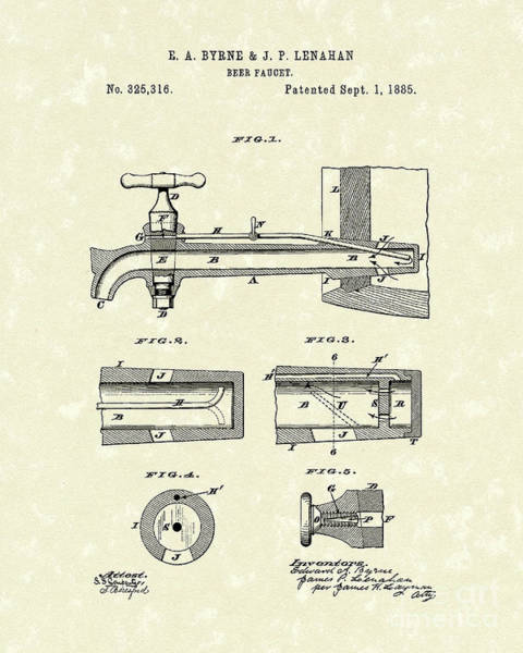 1885 Wall Art - Drawing - Beer Faucet 1885 Patent Art by Prior Art Design
