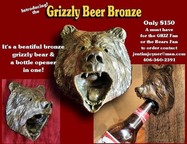 Sculpture - Beer Head Bronze by Tim  Joyner