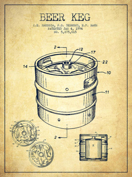 Wall Art - Digital Art - Beer Keg Patent Drawing - Vintage by Aged Pixel