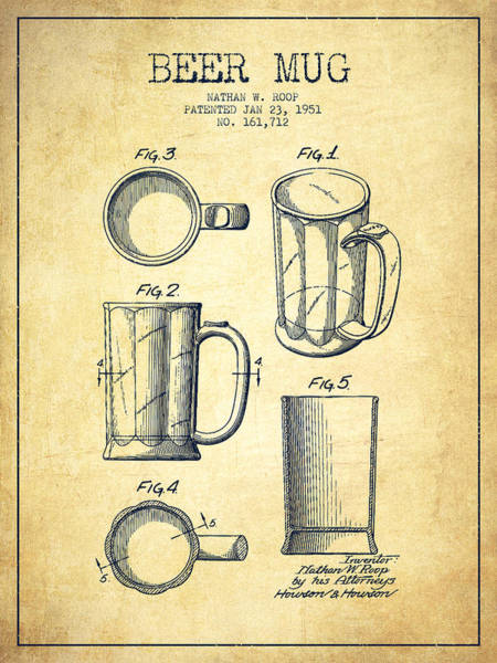 Wall Art - Digital Art - Beer Mug Patent Drawing From 1951 - Vintage by Aged Pixel