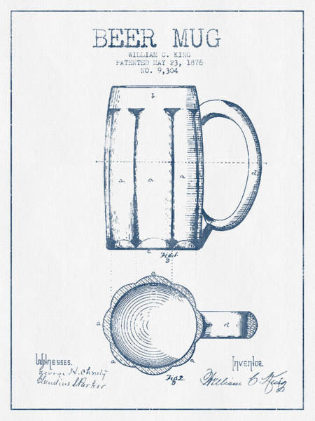 Bar Wall Art - Digital Art - Beer Mug Patent From 1876 -  Blue Ink by Aged Pixel