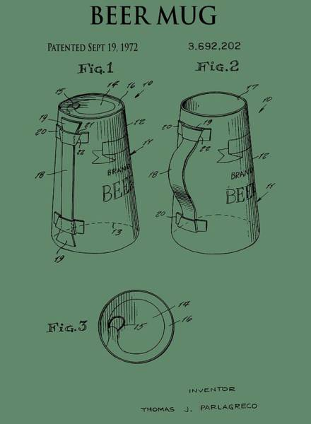 Drunk Mixed Media - Beer Mug Patent On Green by Dan Sproul