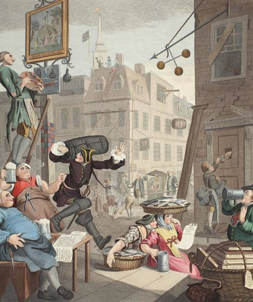 Georgian Drawing - Beer Street, Illustration From Hogarth by William Hogarth