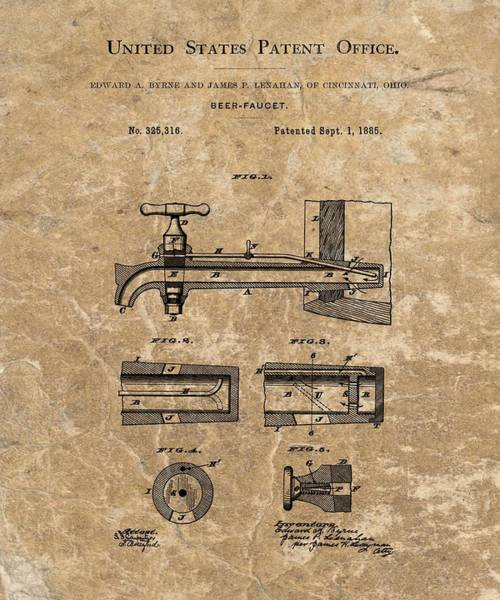 Beer Mixed Media - Beer Tap Patent by Dan Sproul