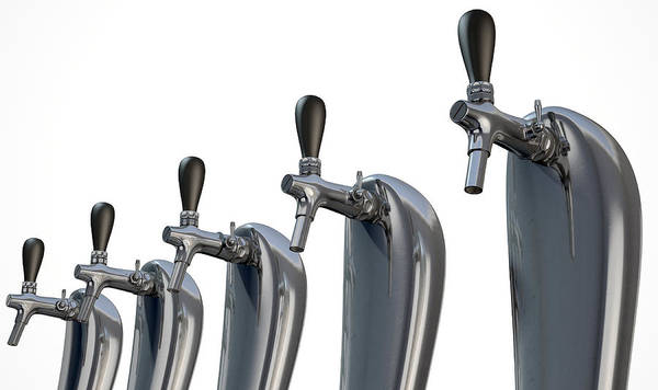 Draught Digital Art - Beer Tap Row Isolated by Allan Swart
