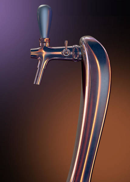 Draught Digital Art - Beer Tap Single Moody by Allan Swart