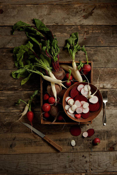Wood Photograph - Beets And Radishes by Lew Robertson