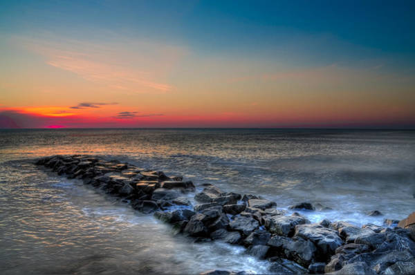 Jetti Wall Art - Photograph - Before Sunrise On The Avalon Seawall by Bill Cannon