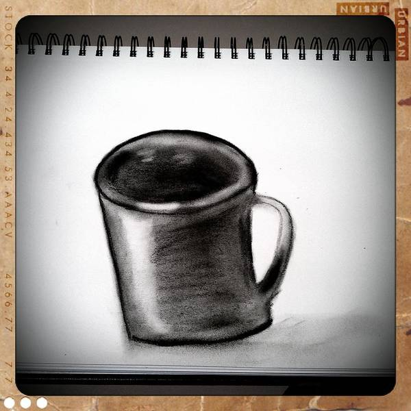 Charcoal Drawing Photograph - Before The Effects Of Coffee by Heather L Wright