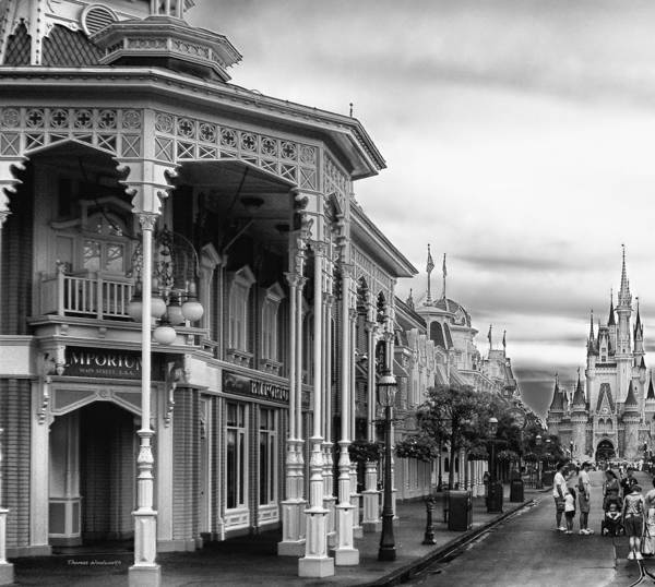 Adventureland Photograph - Before The Gates Open In Black And White Walt Disney World by Thomas Woolworth
