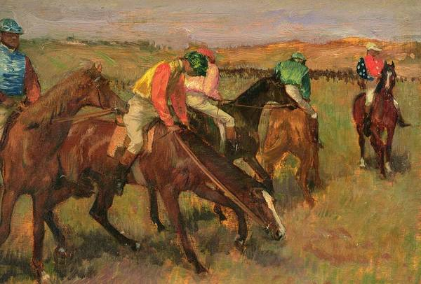 Chestnut Horse Painting - Before The Races by Edgar Degas