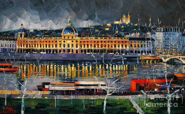 Red White And Blue Painting - Before The Storm - View On Hotel Dieu Lyon And The Rhone France by Mona Edulesco
