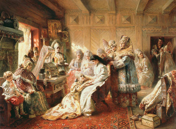 Toilet Photograph - Before The Wedding, 1890 Oil On Canvas by Konstantin Egorovich Makovsky