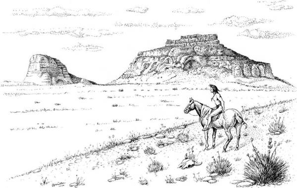 Drawing - Open Prairie Overlook by Bern Miller