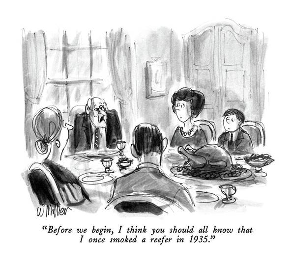 Supreme Court Drawing - Before We Begin by Warren Miller
