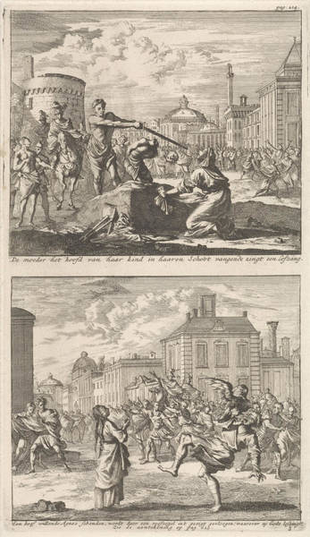 Bystander Drawing - Beheading Of A Christian In Rome And Saint Agnes Who by Jan Luyken And Barent Visscher And Jacobus Van Hardenberg