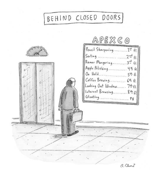 Internet Drawing - Behind Closed Doors by Roz Chast