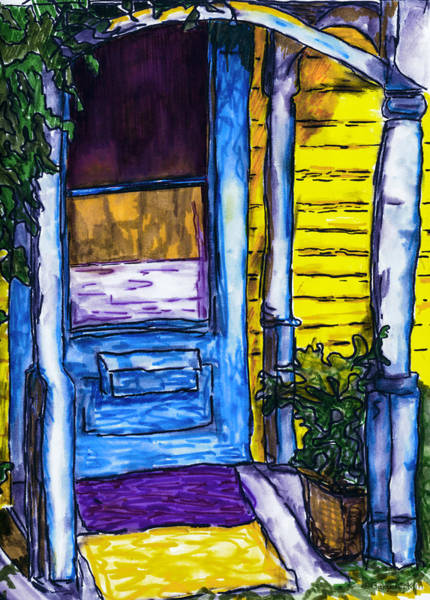 Columns Mixed Media - Behind The Blue Door by Jo-Anne Gazo-McKim