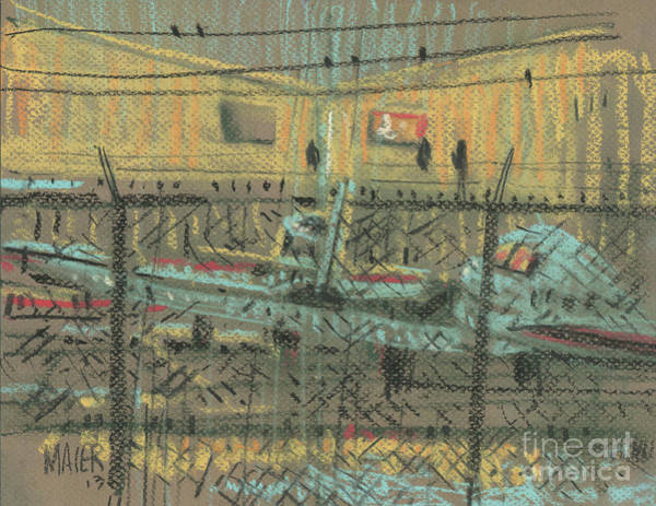 Airplane Drawing - Behind The Fence by Donald Maier