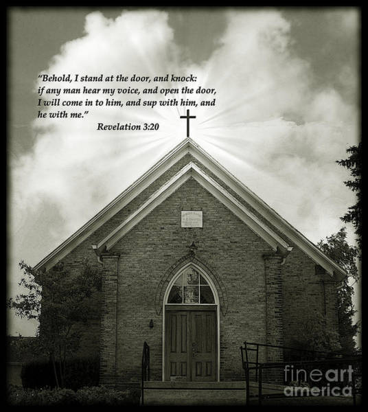Photograph - Behold I Stand At The Door And Knock - Bw by Charles Robinson
