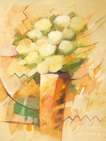 Painting - Beige Flowers by Lutz Baar