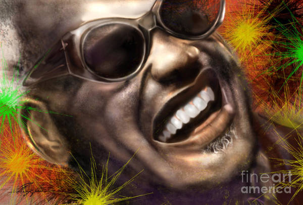 Piano Player Painting - Being Ray Charles1 by Reggie Duffie