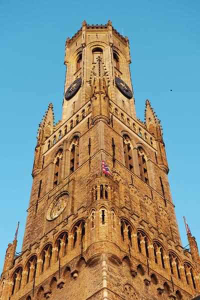 In Bruges Photograph - Belfry Belfort Bruges Central Square by Christian Aslund