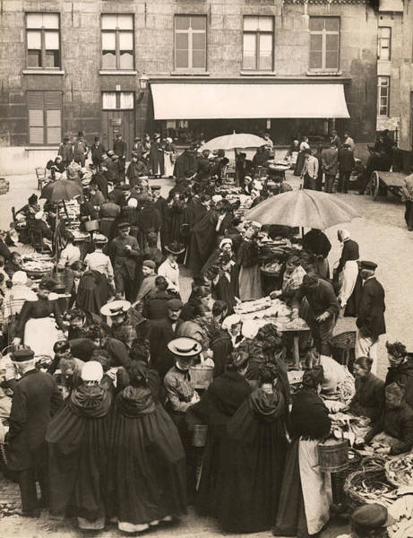 Wall Art - Photograph - Belgian Fish Market by Underwood Archives